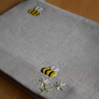 PRE ORDER-Linen project bag with embroidered bees and daisies-SMALL TO MEDIUM