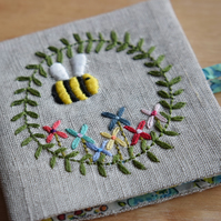 PRE ORDER Linen Needle Book in 'Belle' design - embroidered bee and flowers.