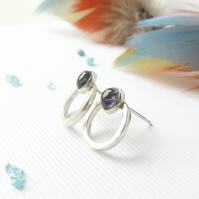 Sterling silver iolite stud earrings- Viking earrings- Blue stone earrings