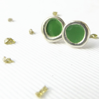 Sterling silver stud earrings- Green studs- Ecofashion- Recycled silver earrings