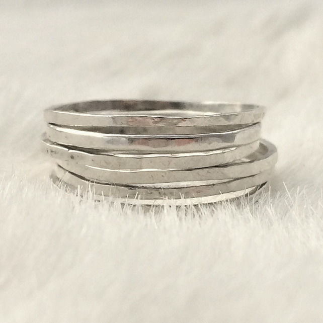 Hammered recycled sterling silver thin stacking rings