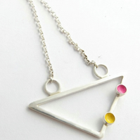 Pink & yellow triangle necklace