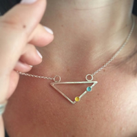 Blue & yellow triangle necklace