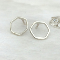 Sterling silver hexagon studs
