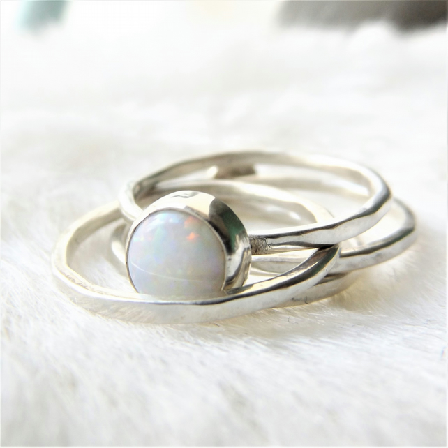 Stacking rings with opals