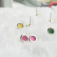 Pink studs made from recycled sterling silver