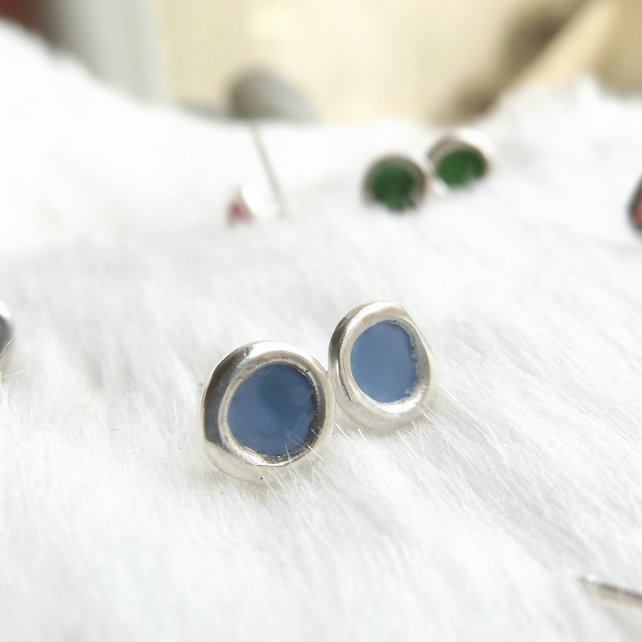 Blue studs made from recycled sterling silver