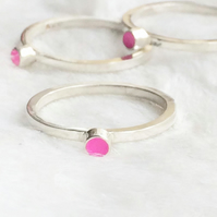 Recycled sterling silver pink ring