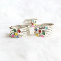 Sterling silver stacking ring- Juna rainbow stacker