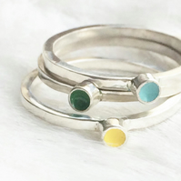 Sterling silver stacking ring- Juna rainbow stacker with 3 bands