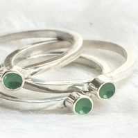 Recycled sterling silver green ring