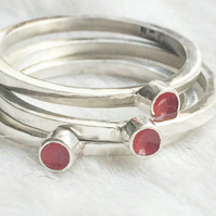 Recycled sterling silver red ring
