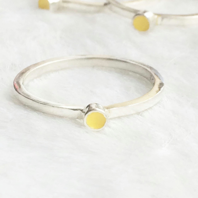 Recycled sterling silver yellow ring