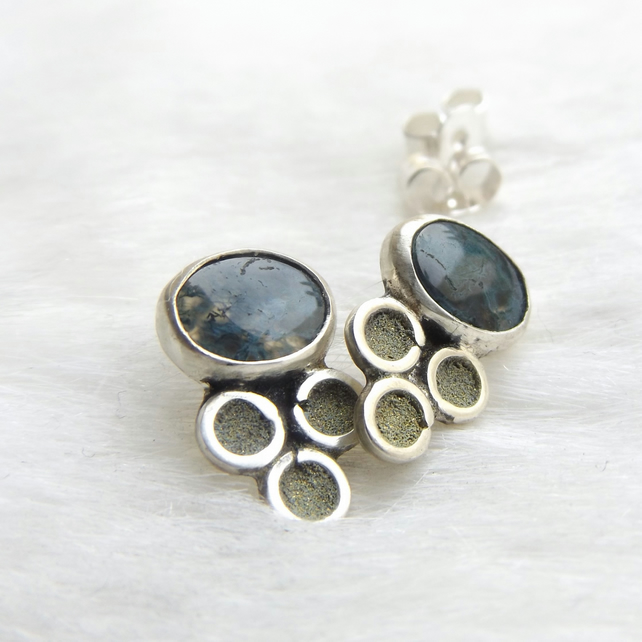 Sterling silver stud earrings with moss agate