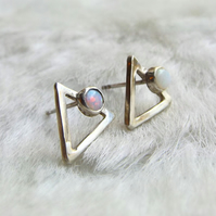 Sterling silver triangle earrings with opal