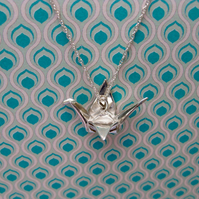 Origami Crane Bird Silver Stirling Necklace Pendant Miniature Hand Folded Wing