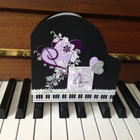 Baby GrandPiano Card - Piano Music Card - Lilac Music Decoupage