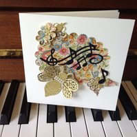 Music Notes Card - Handmade Music Theme Card - Decoupage Florentine Bee