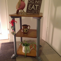 SOLD Xmas is Coming - Vintage Shabby  Chic Pebble  Grey & Wood 3 Tiered Table