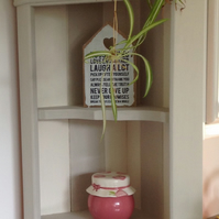 Shabby Chic Farmhouse Style  French Linen and Antique White Corner Shelf Unit