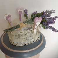Xmas Present - Peggy's Basket - Shabby Chic Heart Basket with Heart Shaped Pegs.