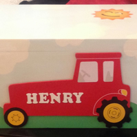Personalised Toy Box - Unique box - Tractor On Front. Fab present for Christmas