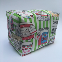 Boxy make up Bag -Green sweet shop