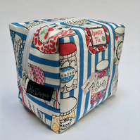 Boxy make up bag - blue sweet shop