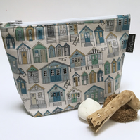 Makeup bags - blue beach huts