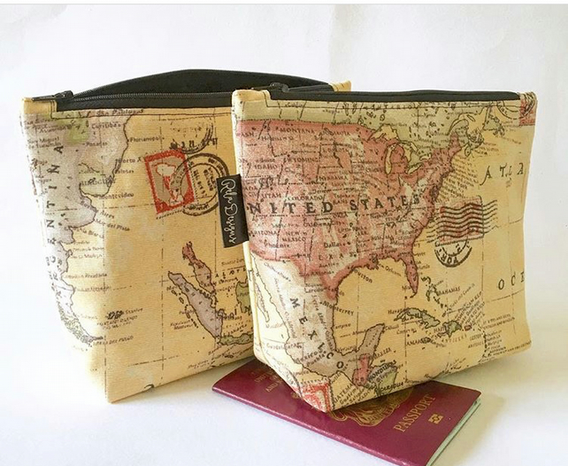 Maps toiletries bags