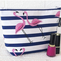 Makeup bag,striped flamingos