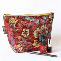 Make up bags - red brocade