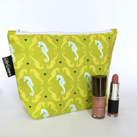 Makeup bag - seahorses green