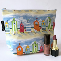 Handmade cotton beach hut print makeup bag