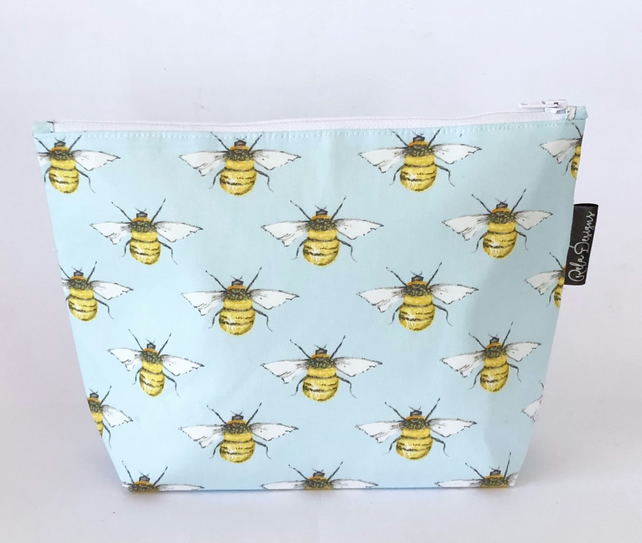 Makeup bags , pale blue bees