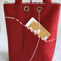 knitters project bag, red