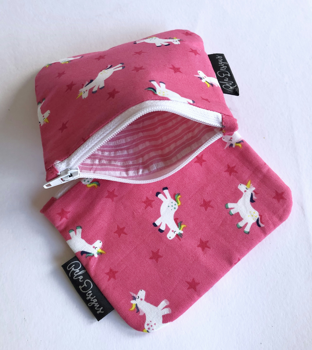 Cotton coin purse pink unicorns