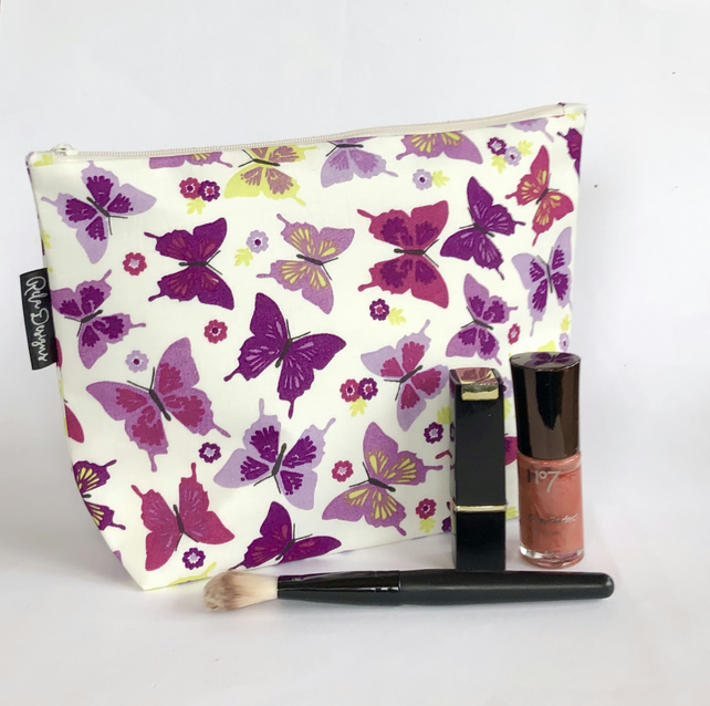 Makeup bag purple butterflies