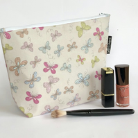 Pastel butterflies large makeup bag