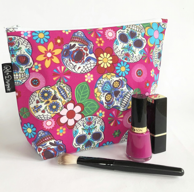 Large  pink sugar skulls makeup bag.