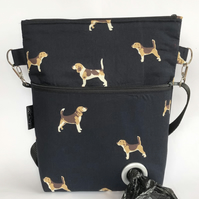 Dogwalking bag, crossbody bag, shoulder bag Beagles
