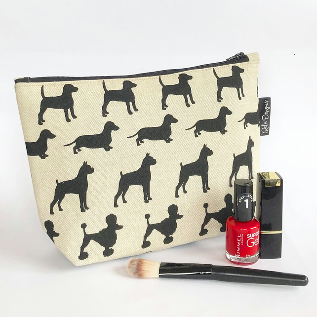 Makeup bag, cosmetic bag, toiletry bag mixed dogs