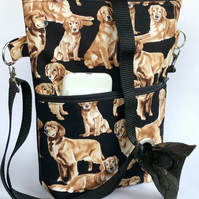 Dog walking bag, crossbody bag, shoulder bag , Golden retrievers