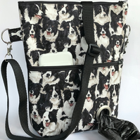 Dog walking bag, cross body bag, shoulder bag collie dogs