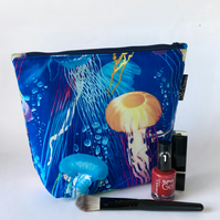 Handmade cotton makeup bag, jellyfish