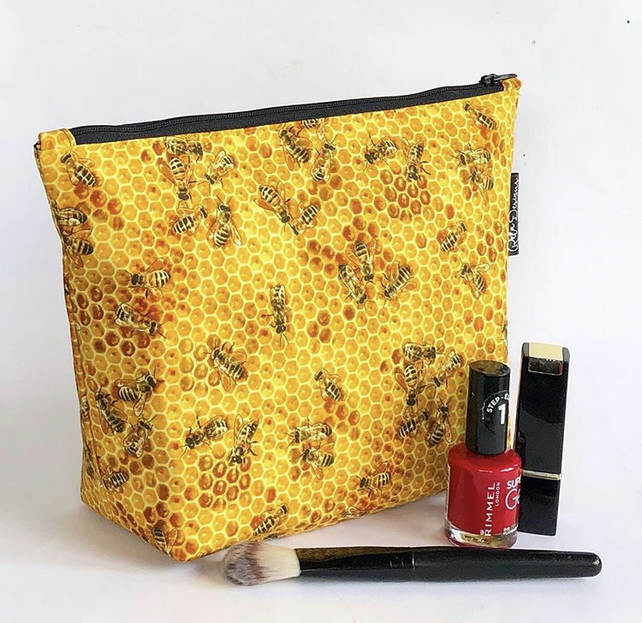 Handmade large cotton makeup bag, honey bees