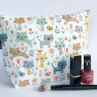 Makeup bag, cream cats