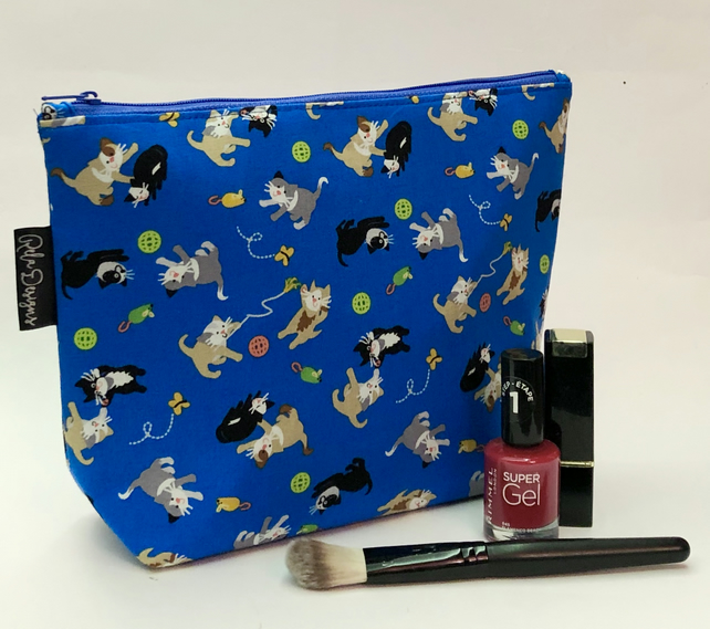 Handmade large cotton makeup bag, blue cats