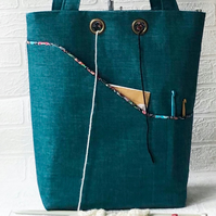 Knitters project bag, turquoise