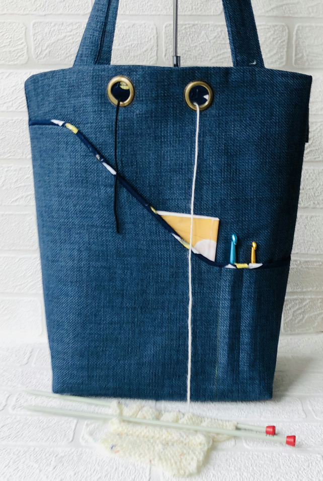 Knitters project bag, busy bees